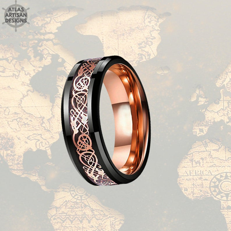 Norse Rose Gold Ring Mens Wedding Band Viking Ring / Celtic Knot Ring Viking Wedding Ring Rose Gold & Black Ring / Tungsten Ring Mens Ring - Atlas Artisan Designs