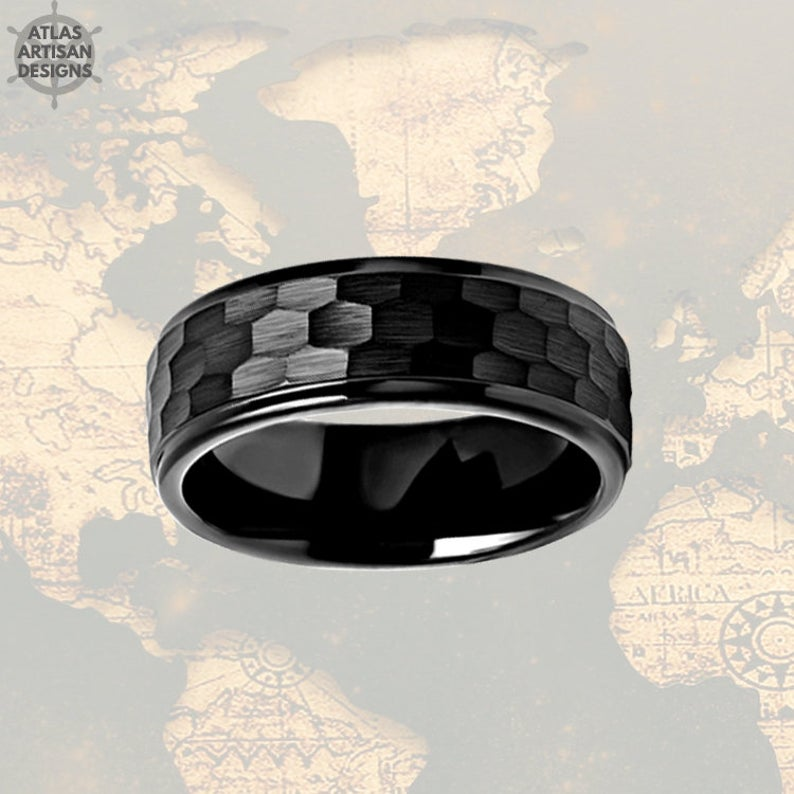 Black Hammered Ring Mens Wedding Band Tungsten Ring with Step Edges, Viking Wedding Ring, Mens Black Ring - Atlas Artisan Designs