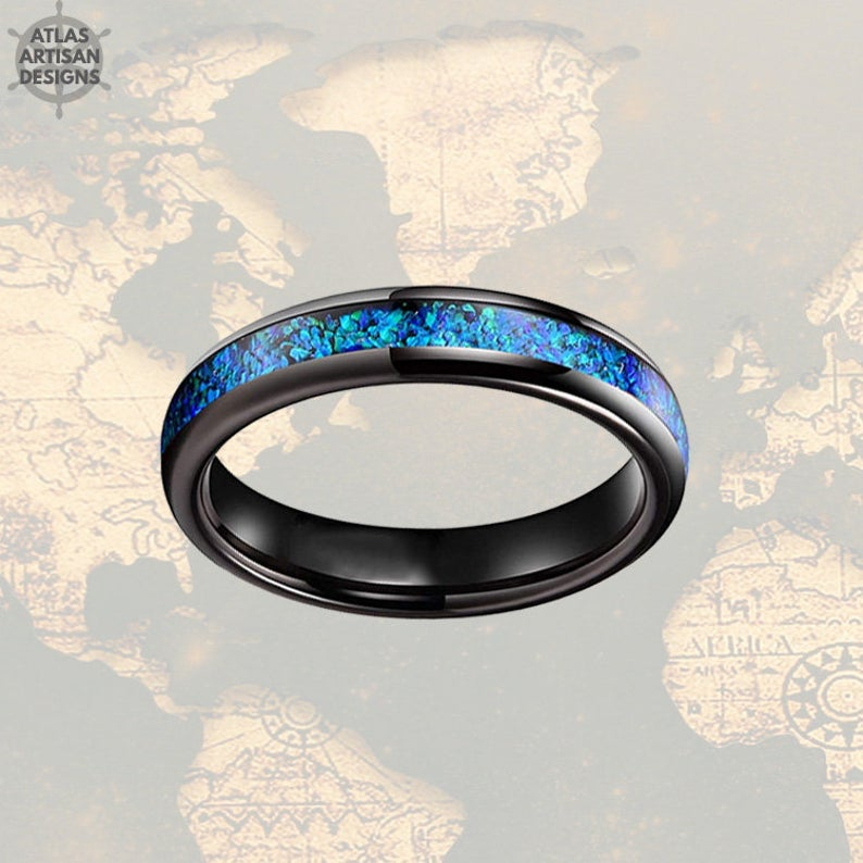 4mm Black Tungsten Ring Blue Opal Wedding Band Womens Ring
