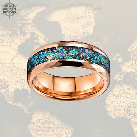 Image of Rose Gold Mens Wedding Band  - Fire Opal Hammered Tungsten Ring