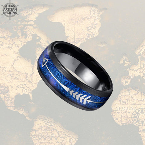 Image of Blue Meteorite Ring Mens Wedding Band Tungsten Ring - 8mm Silver Arrow Ring Meteorite Wedding Band Mens Ring - Unique Black Rings for Men - Atlas Artisan Designs