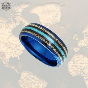 Mens Turquoise Ring with Deer Antler Inlay, Blue Tungsten Mens Ring Unique Nature Ring