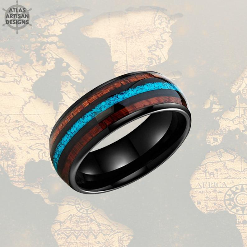 Turquoise Ring Mens Wedding Band Black Tungsten Ring - Koa Wood Ring