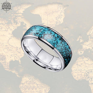 8mm Silver Mens Turquoise Ring, Unique Nature Ring, Tungsten Wedding Band
