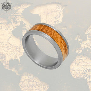 Silver Whiskey Barrel Ring Mens Wedding Band Tungsten Ring, Bourbon Wood Wedding Band Mens Ring, Unique Wooden Ring Mens Promise Ring