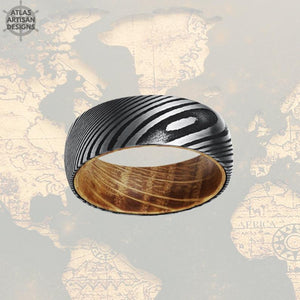 Damascus Whiskey Barrel Ring, 8mm Damascus Steel Ring Whiskey Wood Ring Mens Wedding Band Damascus Ring