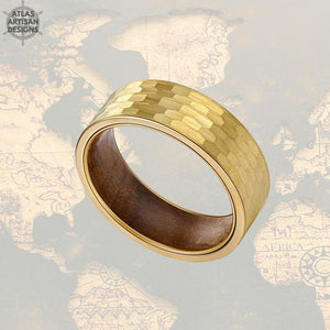 14K Gold Ring Mens Wedding Band Hammered Ring Koa Wood Rings for Men