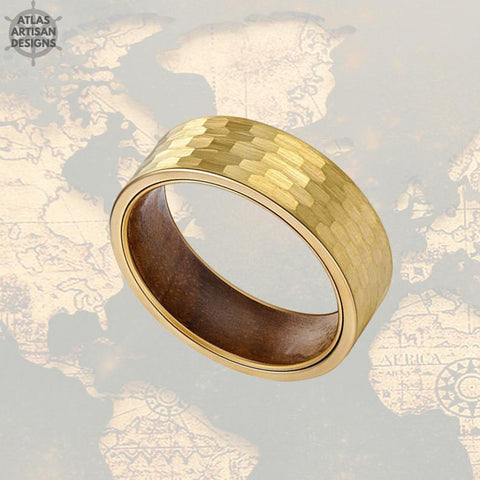 Image of 14K Gold Ring Mens Wedding Band Tungsten Ring, Koa Wood Ring - Atlas Artisan Designs