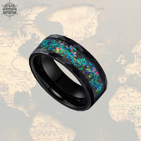 Image of 8mm Black Tungsten Ring Opal Wedding Band Hammered Ring Unique Mens Ring - Atlas Artisan Designs