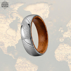 6mm Damascus Whiskey Barrel Ring, Silver Damascus Ring Whiskey Wood Ring Mens Wedding Band Wooden Ring