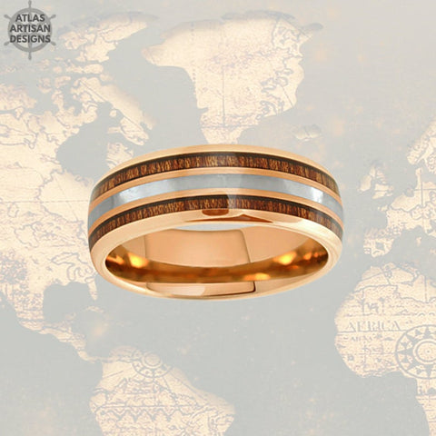 Image of Rose Gold Mother of Pearl Ring, 8mm Koa Wood Ring Mens Wedding Band Rose Gold Ring - Atlas Artisan Designs
