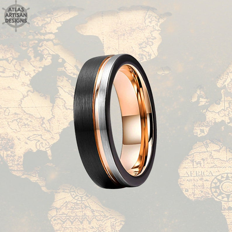 Thin 18K Rose Gold Wedding Bands Womens Ring, 6mm Womens Wedding Band Tungsten Ring, Silver & Rose Gold Ring Mens Wedding Band Couples Rings - Atlas Artisan Designs