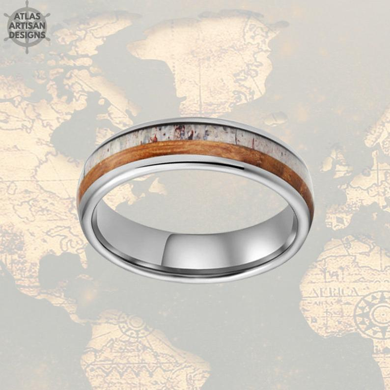 Thin Deer Antler Ring Mens Wedding Band Tungsten Ring Whiskey Barrel Ring