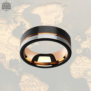18K Rose Gold Wedding Band Mens Ring, 8mm Unique Mens Wedding Band Tungsten Ring, Black & Rose Gold Ring Tungsten Wedding Band Mens Ring