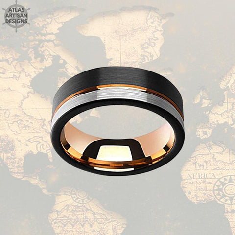 Image of 18K Rose Gold Wedding Band Mens Ring, 8mm Unique Mens Wedding Band Tungsten Ring, Black & Rose Gold Ring Tungsten Wedding Band Mens Ring - Atlas Artisan Designs