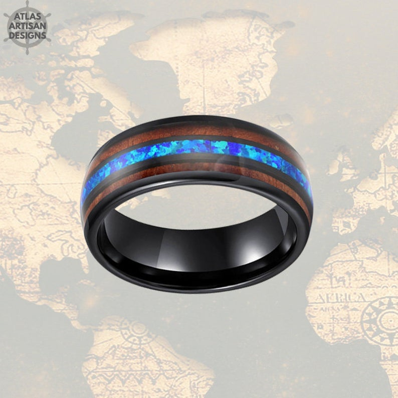 8mm Blue Opal Ring Mens Wedding Band & Koa Wood Black Tungsten Ring