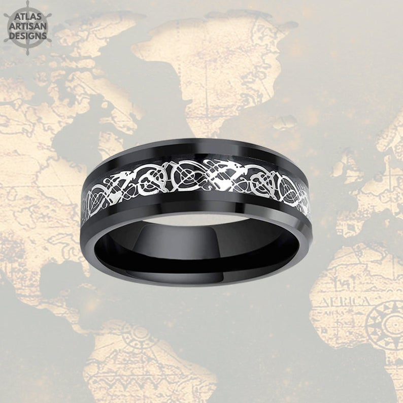 8mm Black Viking Wedding Ring Mens Wedding Band Tungsten Ring, Celtic Wedding Ring - Atlas Artisan Designs