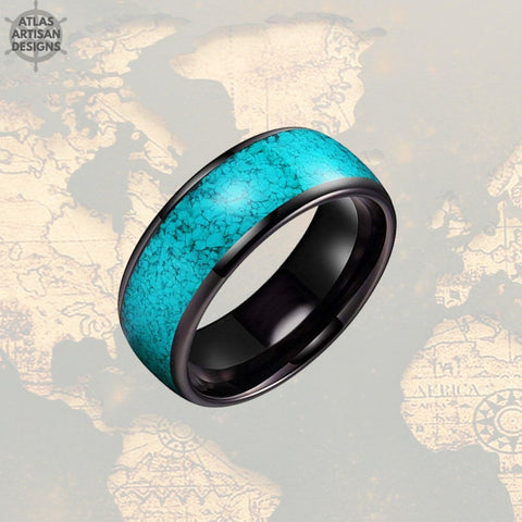 Image of Turquoise Ring Mens Wedding Band Tungsten Ring Black Turquoise Wedding Bands