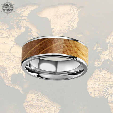 Image of Silver Whiskey Barrel Ring Mens Wedding Band Tungsten Ring with Wood Inlay Ring - Atlas Artisan Designs