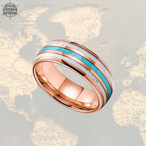 18K Rose Gold Ring Mens Wedding Band Tungsten Ring, 8mm Deer Antler Ring Rose Gold Wedding Band Turquoise Mens Ring