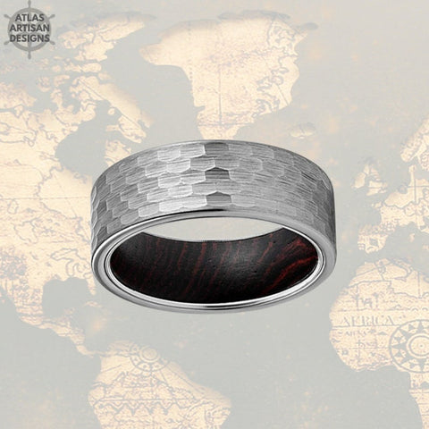 Image of 8mm Silver Tungsten Norse Ring Wood Wedding Band Hammered Ring - Atlas Artisan Designs