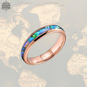 4mm Rose Gold Ring Tungsten Wedding Bands - Tropical Abalone Shell Women Ring