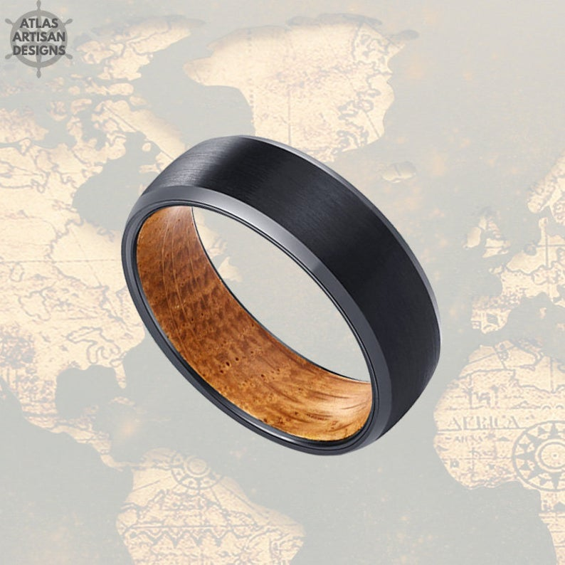 8mm Whisky Wood Ring Mens Wedding Band Tungsten Ring, Whiskey Barrel Ring 8mm Mens Wedding Ring, Black Wooden Ring Bourbon Barrel Mens Ring - Atlas Artisan Designs