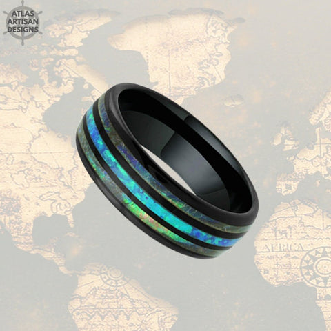 Image of Black Opal Ring Mens Wedding Band Tungsten Ring - Abalone Ring