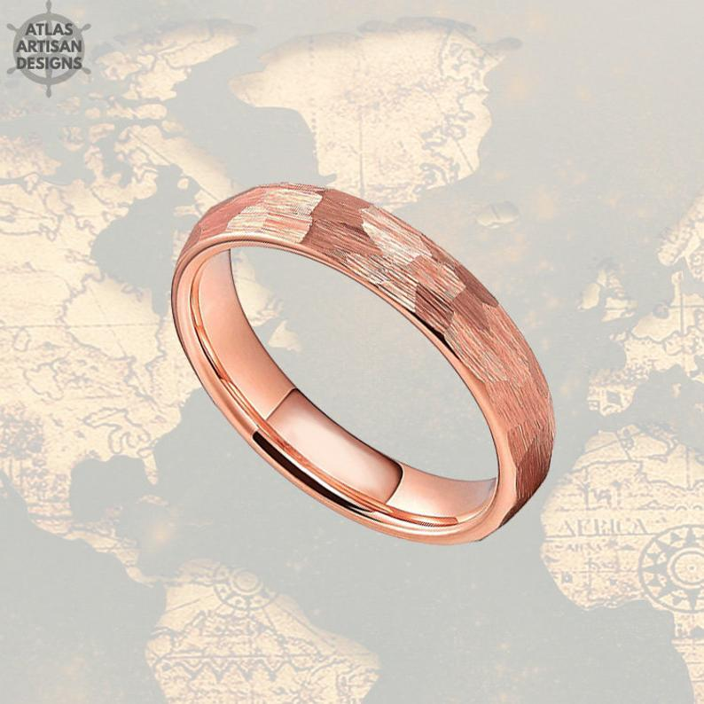 4mm Hammered Ring Rose Gold Wedding Band Tungsten Ring - Faceted Couples Ring