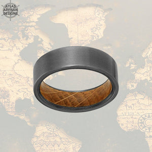 Gunmetal Whiskey Barrel Ring Wooden Ring, Tungsten Wedding Band Mens Ring, Whiskey Barrel Wood Ring