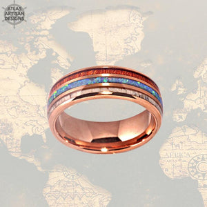 18K Rose Gold Ring Mens Wedding Band, Deer Antler Ring with Opal Inlay, Mens Wooden Ring