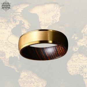 14K Gold Wedding Band Mens Ring with Beveled Edges, Wenge Wood Ring Mens Wedding Band Tungsten Ring, Unique Gold Ring