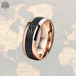 18K Rose Gold Meteorite Ring Mens Wedding Band Tungsten Ring, 8mm Rose Gold Ring Meteorite Wedding Ring for Men