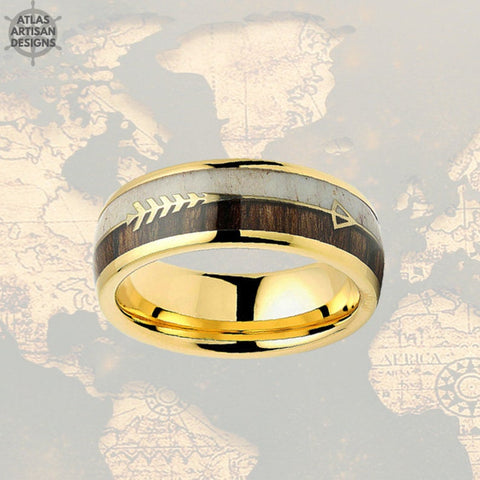 14K Yellow Gold Mens Tungsten Ring Antler & Wood Wedding Band - Atlas Artisan Designs