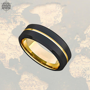 18K Yellow Gold Mens Wedding Band Two Tone Tungsten Ring with Beveled Edges