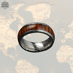Koa Wood & Damascus Ring, 8mm Damascus Steel Ring Koa Wood Ring Mens Wedding Band