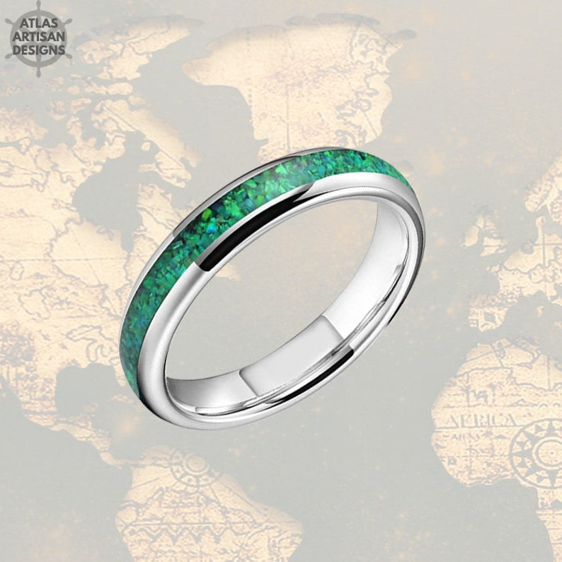 4mm Silver Tungsten Ring Green Opal Wedding Band Womens Ring