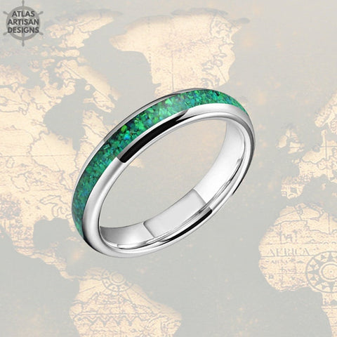 Image of 4mm Silver Tungsten Ring Green Opal Wedding Band Womens Ring