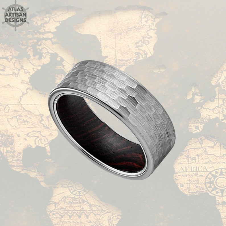 8mm Silver Tungsten Norse Ring Wood Wedding Band Hammered Ring - Atlas Artisan Designs