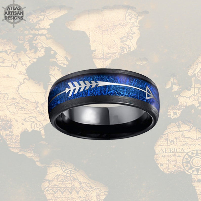 Blue Meteorite Ring Mens Wedding Band Tungsten Ring - 8mm Silver Arrow Ring Meteorite Wedding Band Mens Ring - Unique Black Rings for Men -