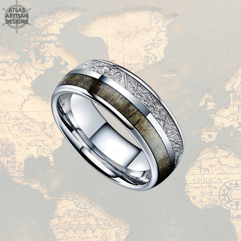 Image of Silver Meteorite Mens Wedding Band Tungsten Ring - Deer Antler Ring - Atlas Artisan Designs