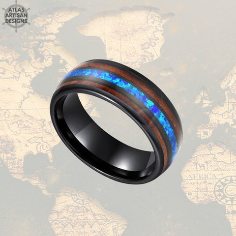 Image of 8mm Blue Opal Ring Mens Wedding Band & Koa Wood Black Tungsten Ring