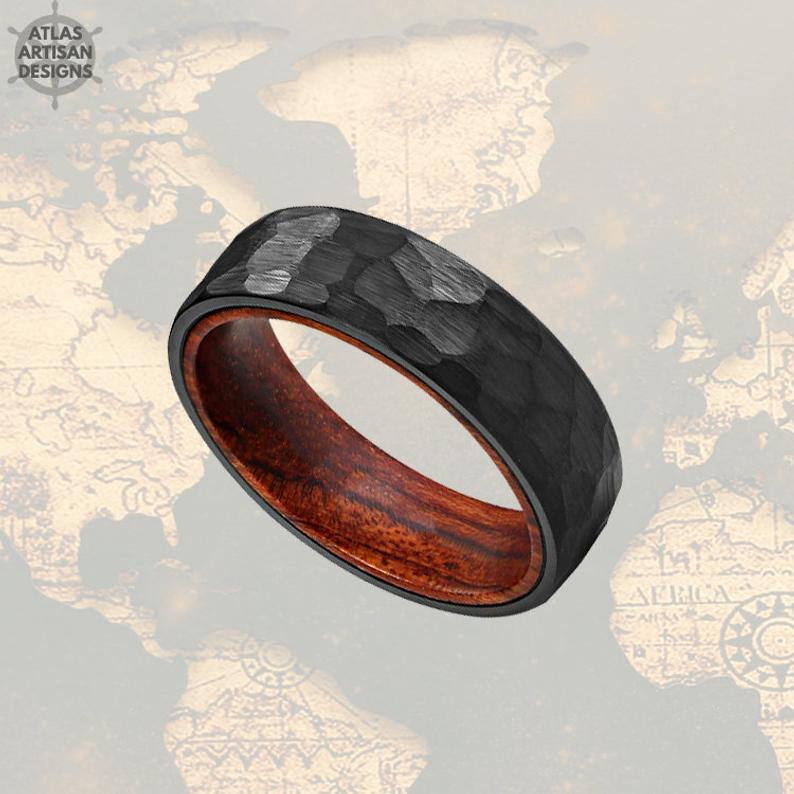 Koa Wood Ring Mens Wedding Band Tungsten Ring, Black Hammered Ring Mens Viking Ring - Atlas Artisan Designs