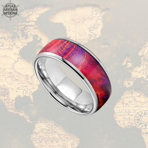 Image of 8mm Red Ring Wood Wedding Band Mens Ring, Elder Wood Ring Mens Wedding Band Tungsten Ring - Atlas Artisan Designs