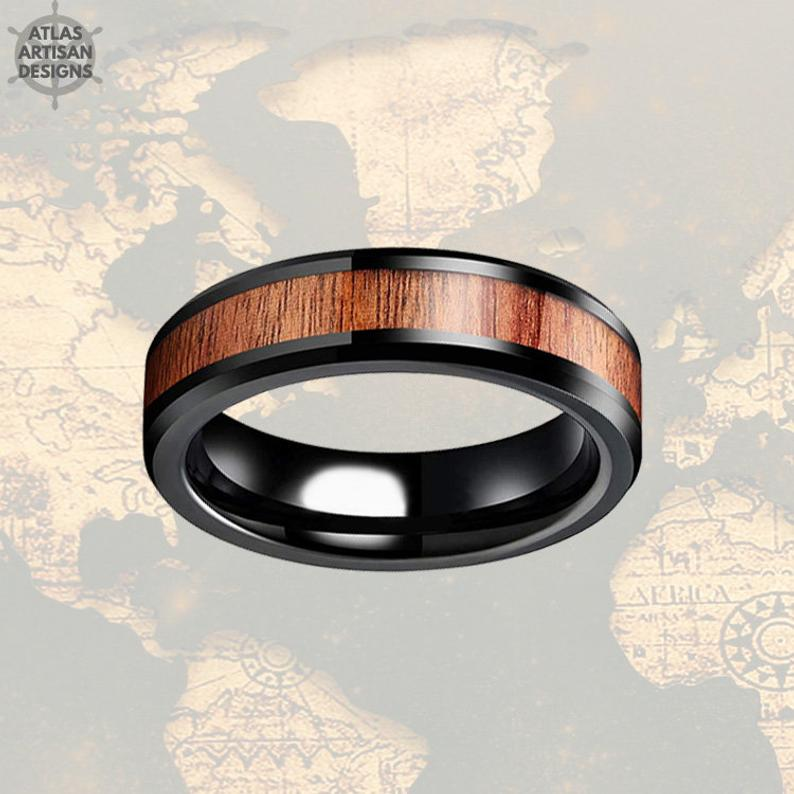 6mm Beveled Thin Black Wedding Band Tungsten Ring Koa Wood Ring