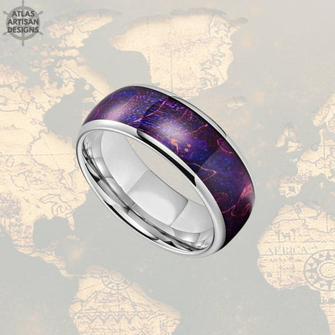 Image of Purple Elder Wood Ring Mens Wedding Band Tungsten Ring, Unique Wooden Mens Ring - Atlas Artisan Designs