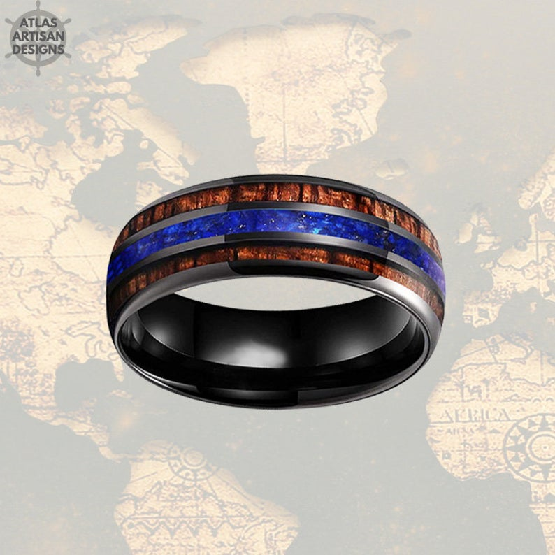 8mm Lapis Ring Black Wedding Band Wood Ring