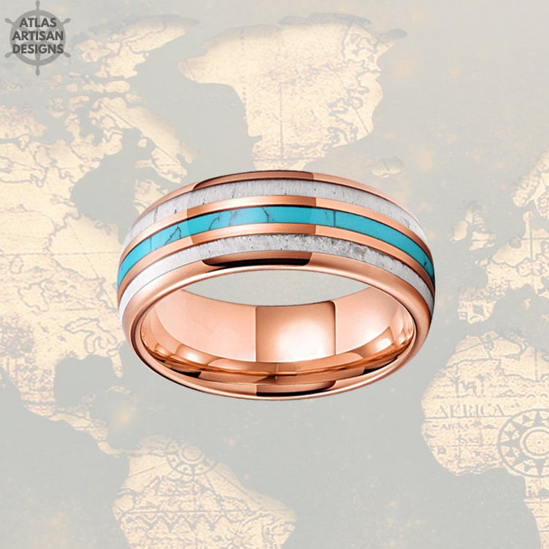 8mm 18K Rose Gold Mens Wedding Band Deer Antler and Turquoise Tungsten Ring