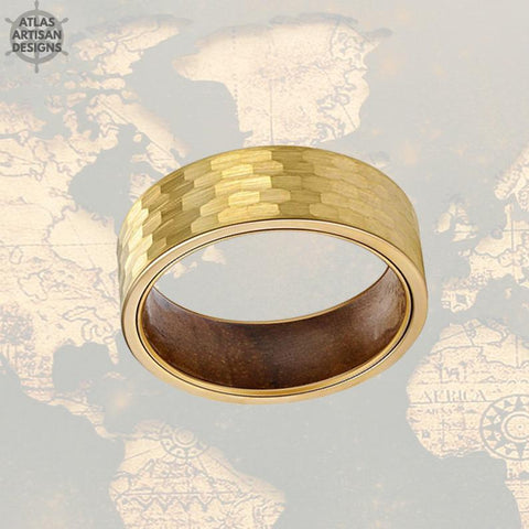Image of 14K Gold Ring Mens Wedding Band Hammered Ring Koa Wood Rings for Men - Atlas Artisan Designs