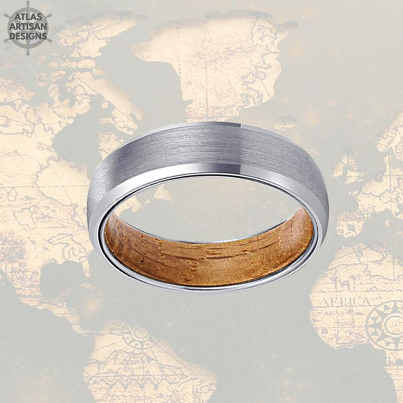 6mm Silver Wood Ring Mens Wedding Band Tungsten Ring, 6mm Whiskey Barrel Ring Wood Wedding Band Mens Ring, Whisky Wood Promise Ring for Him - Atlas Artisan Designs